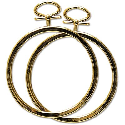 set of 2 small round gold frames