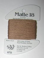 Rainbow Gallery Matte 18 M750 Cocoa Brown Cross Stitch